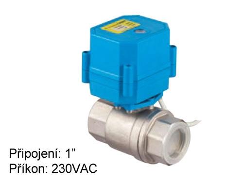 Dvoucestný otočný mini kombiventil DN 25 s elektrickým pohonem 230 VAC